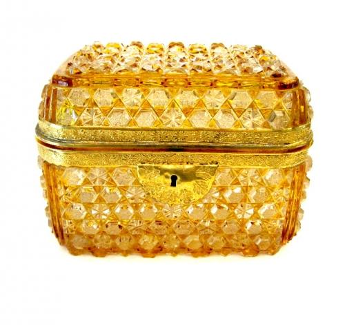 Antique Amber Cut Crystal Casket