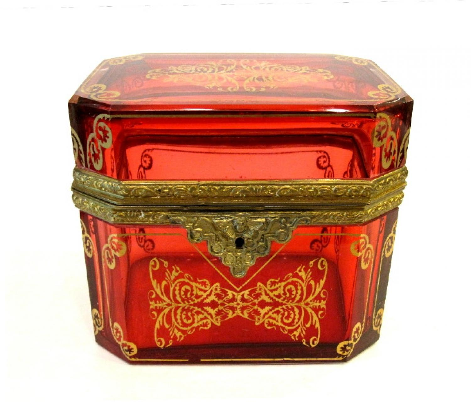 Antique French Ruby Red Glass Casket Box.