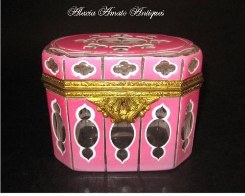 Rare Antique Bohemian Pink Overlay Casket