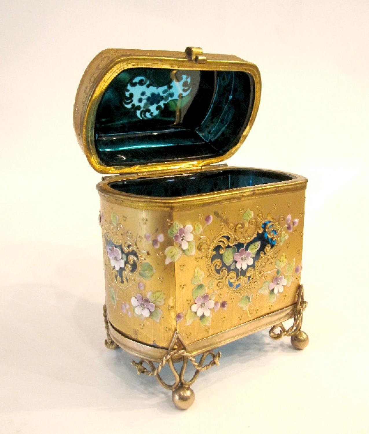 Antique Moser Turquoise Glass Casket