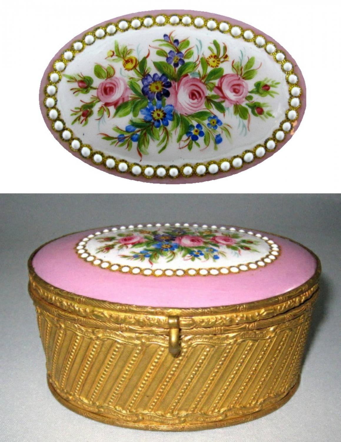 Antique French Pink Porcelain Casket