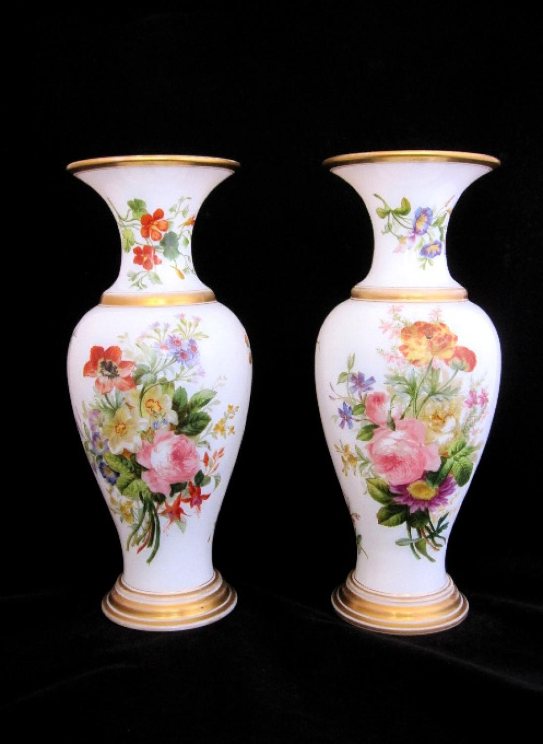 Antique Baccarat Opaline Vases