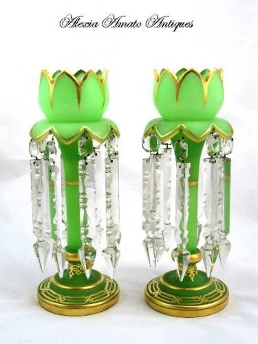 Antique Pair Green Tulip Lustres