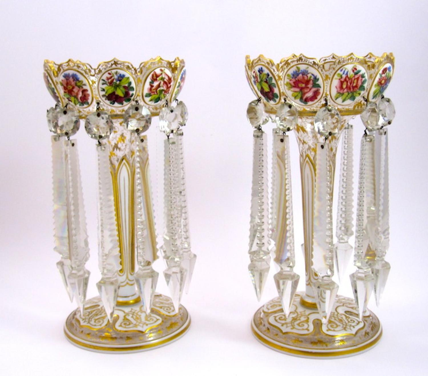 Pair of 19th C Overlay Glass Lustres