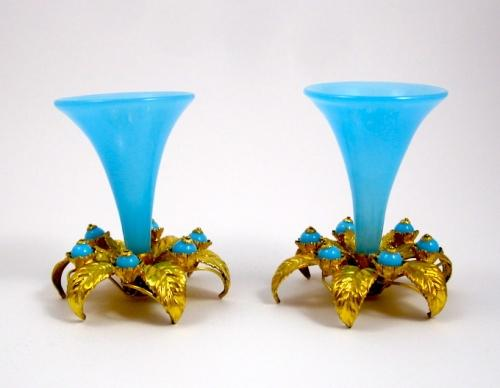 Pair Antique French Opaline Glass Vases