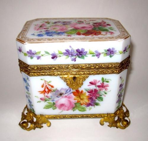Antique Baccarat Opaline Glass Casket Box