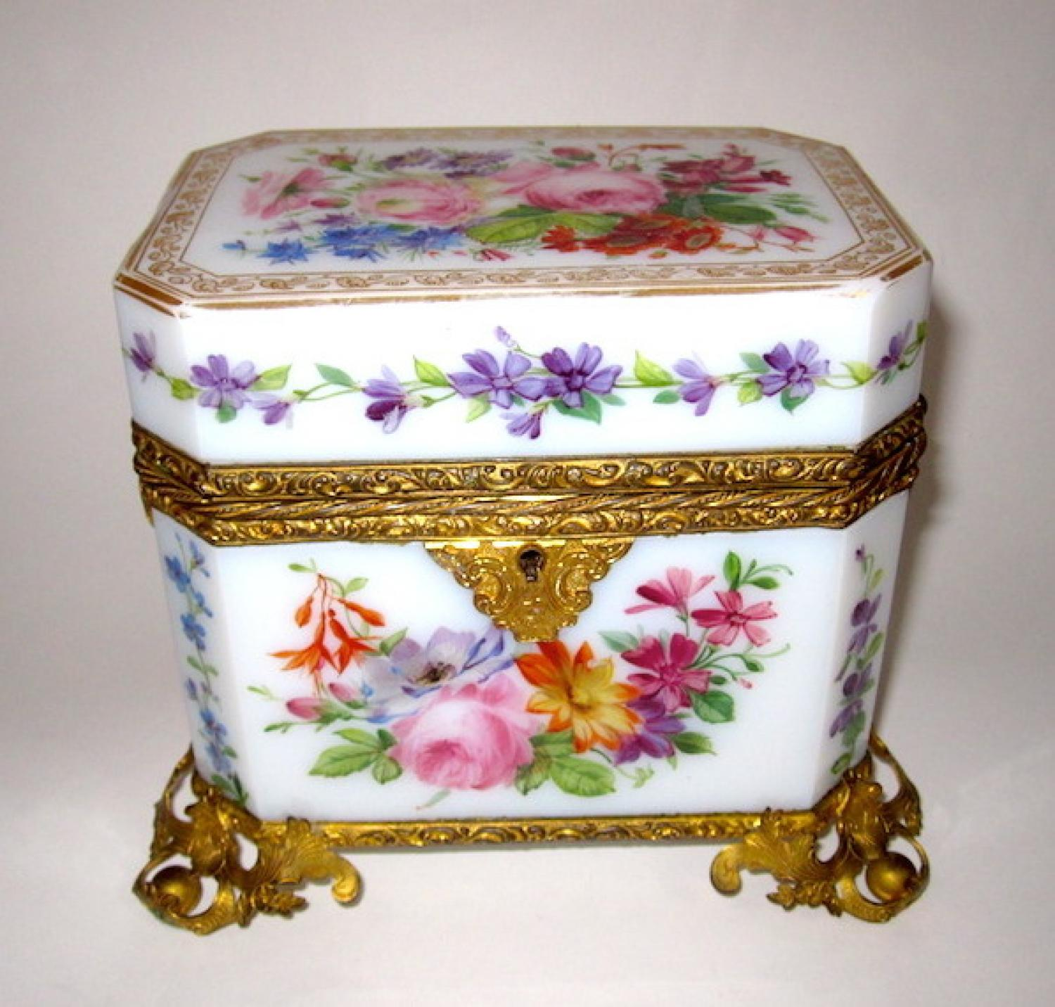 Antique Baccarat Opaline Glass Casket Box