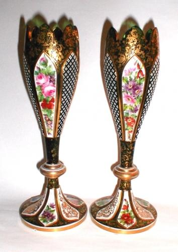 Pair of Bohemian Green Overlay Glass Vases