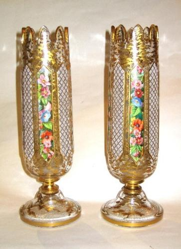 Antique Bohemian Overlay Glass Vases