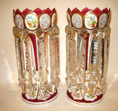 Pair of Bohemian Red Overlay Glass Lustres