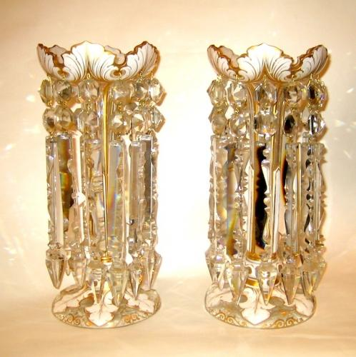 Pair of Bohemian White Overlay Glass Lustres
