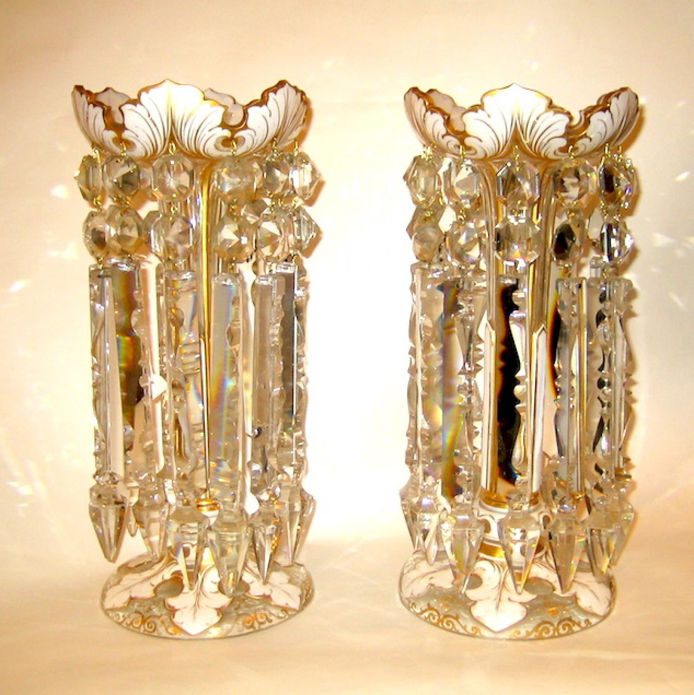 Pair of Bohemian White Overlay Glass Lustres