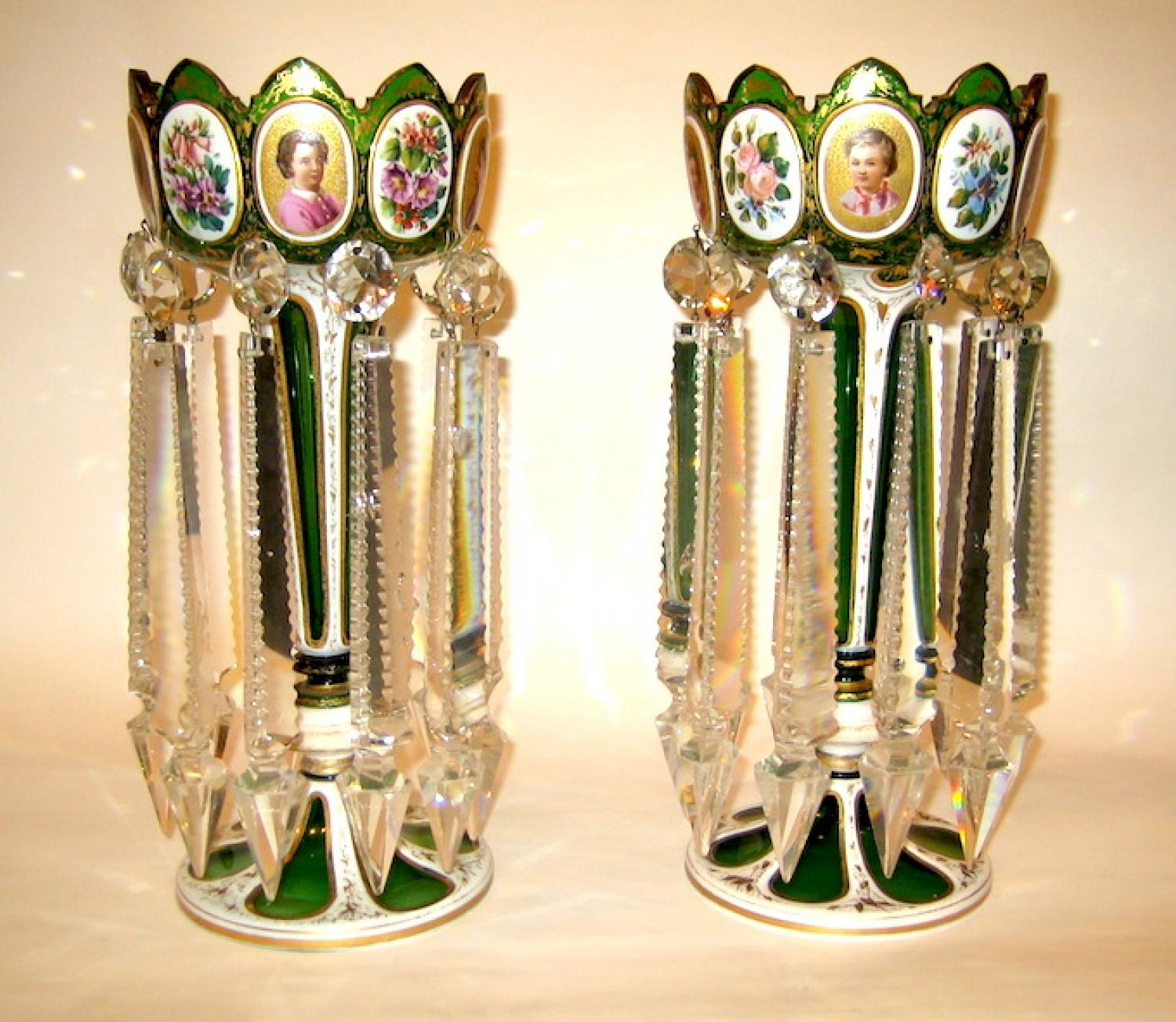 Pair of Bohemian Green Overlay Glass Lustres