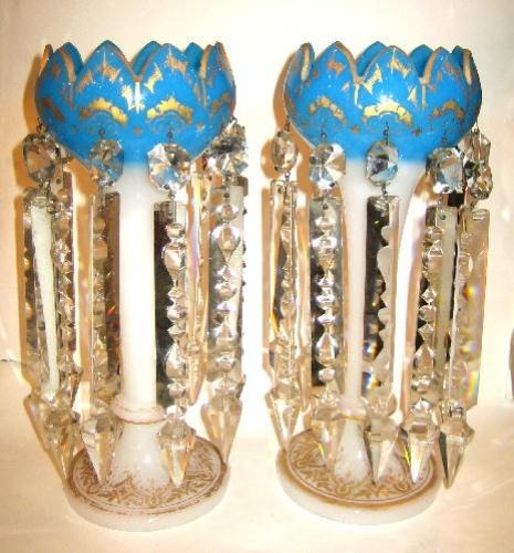 Pair of French Oplaine Glass Lustres