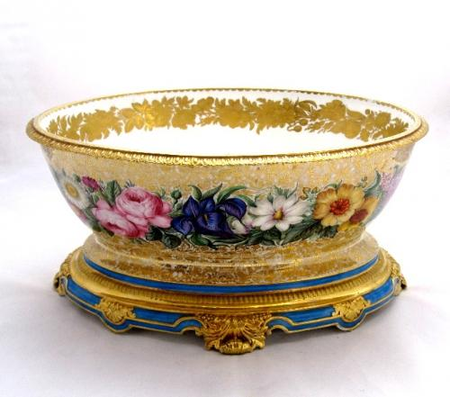 Large French 19th C Porcelain Jardiniere