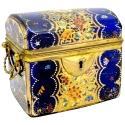 Antique Moser Cobalt Blue Glass Casket  - picture 1
