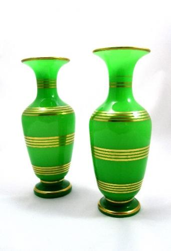 Antique Baccarat Green Opaline Vases