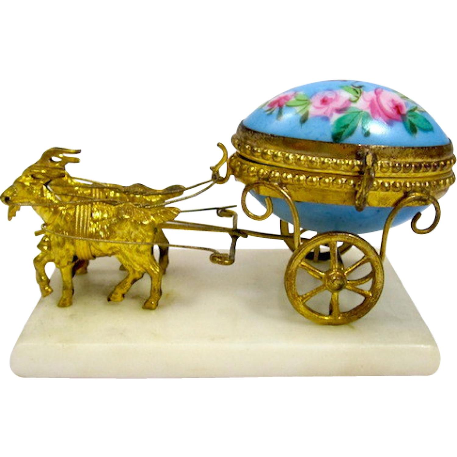 French 19th Century Dore Bronze Cart