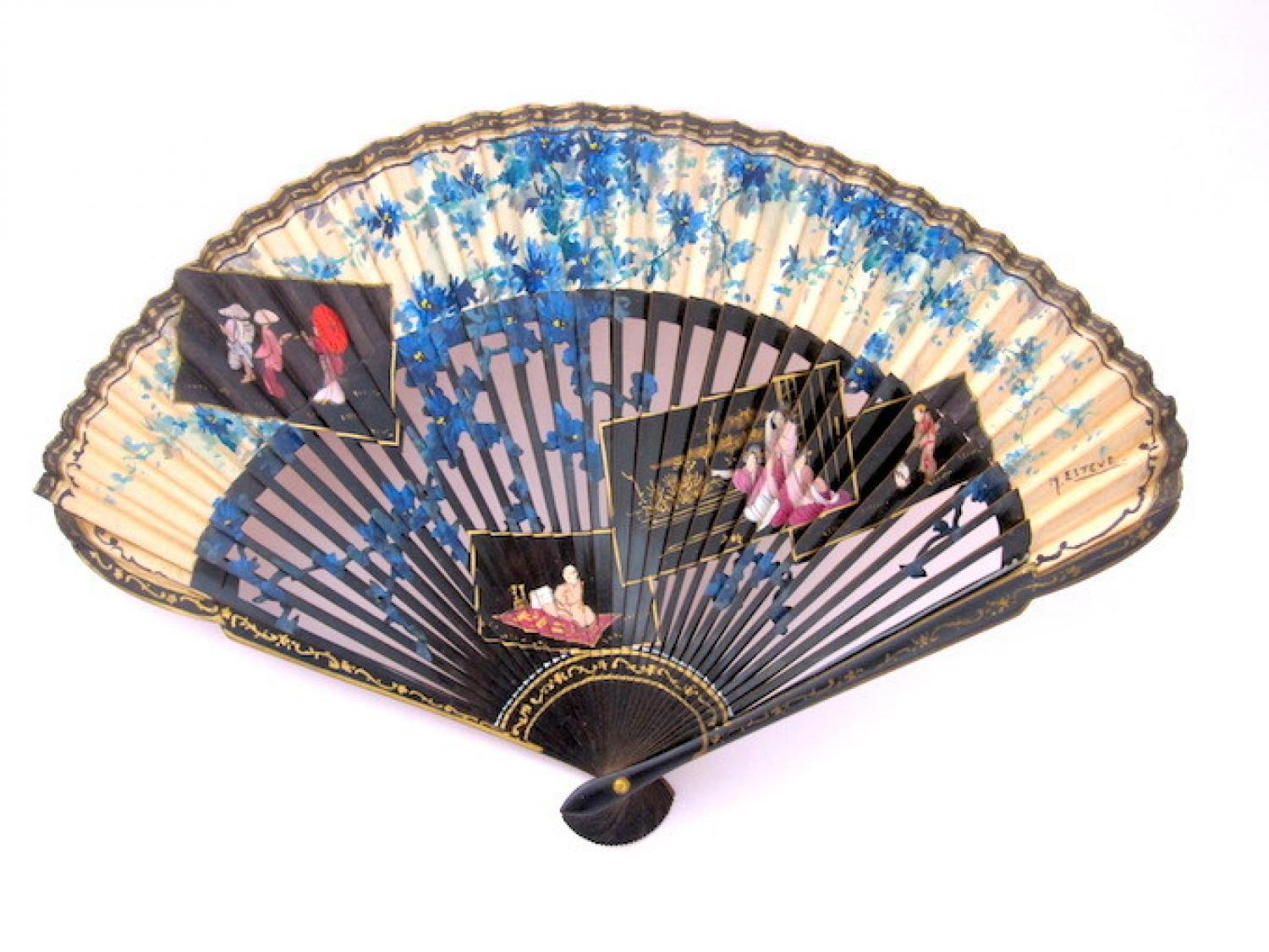 Antique Rare Fan with' Chinoiserie' Design