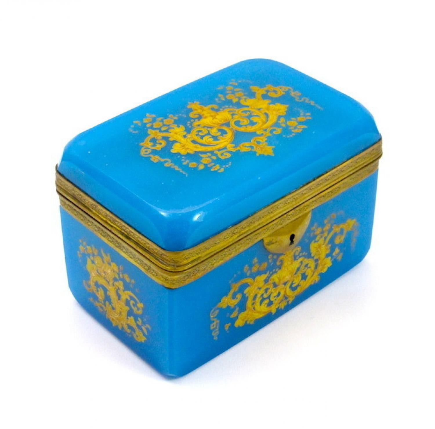 Antique Blue Opaline Enamelled Casket Box