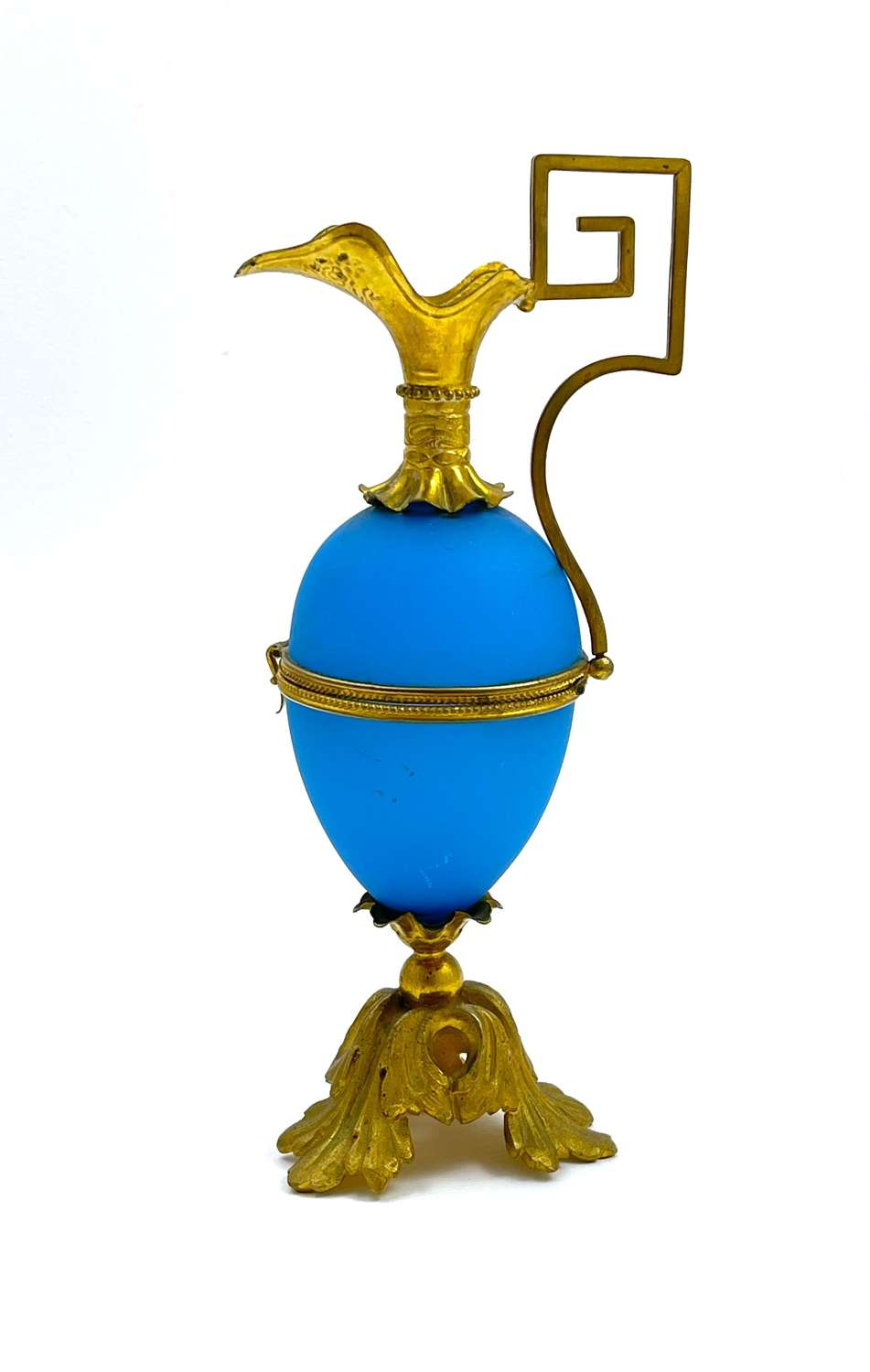 Antique Palais Royal Blue Opaline Glass Ewer