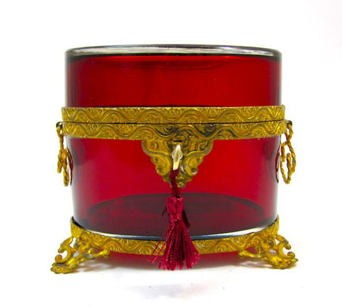 Antique French Ruby Red Glass Casket Box