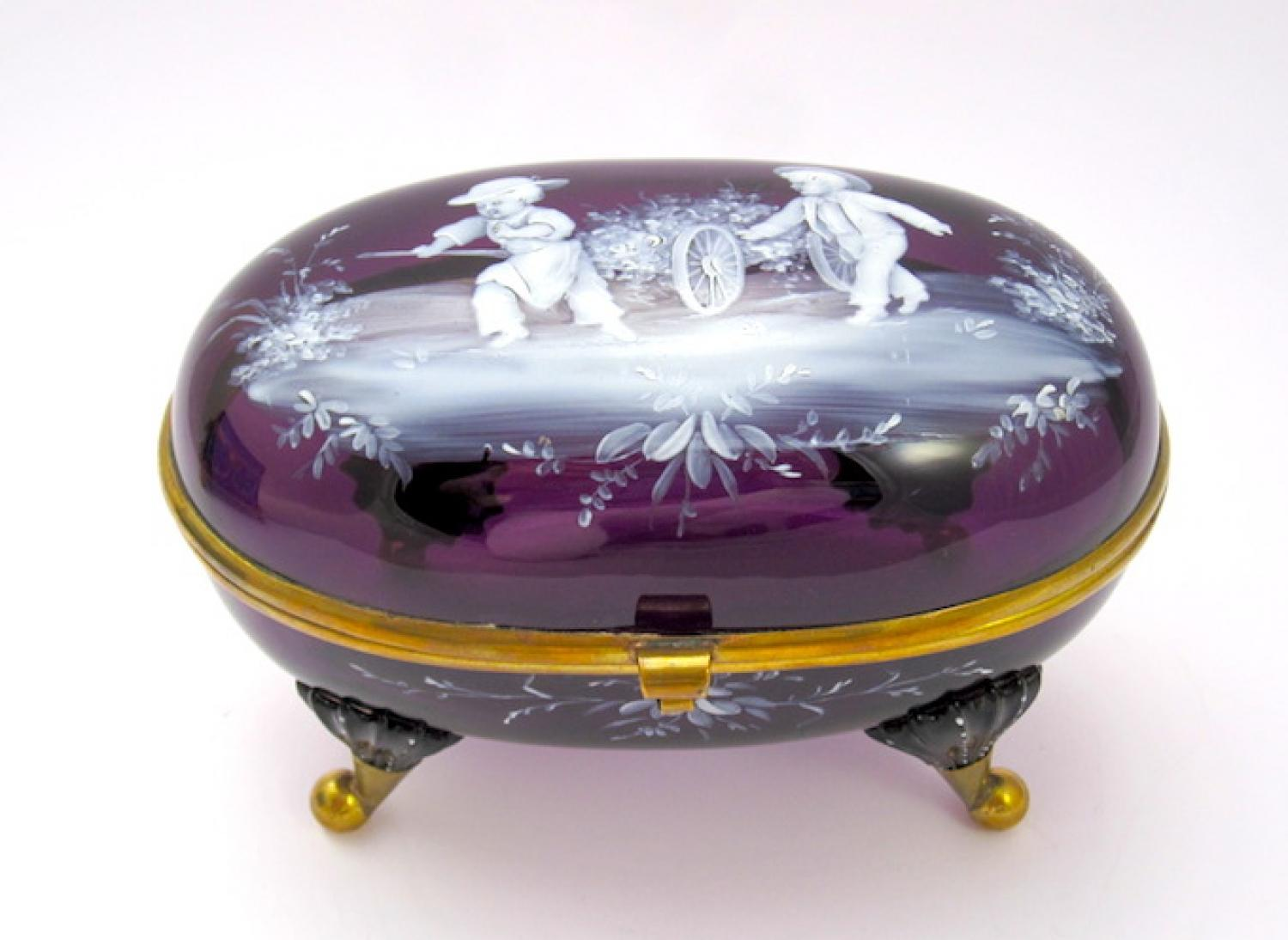 Unusual Antique Mary Gregory Glass Casket Box