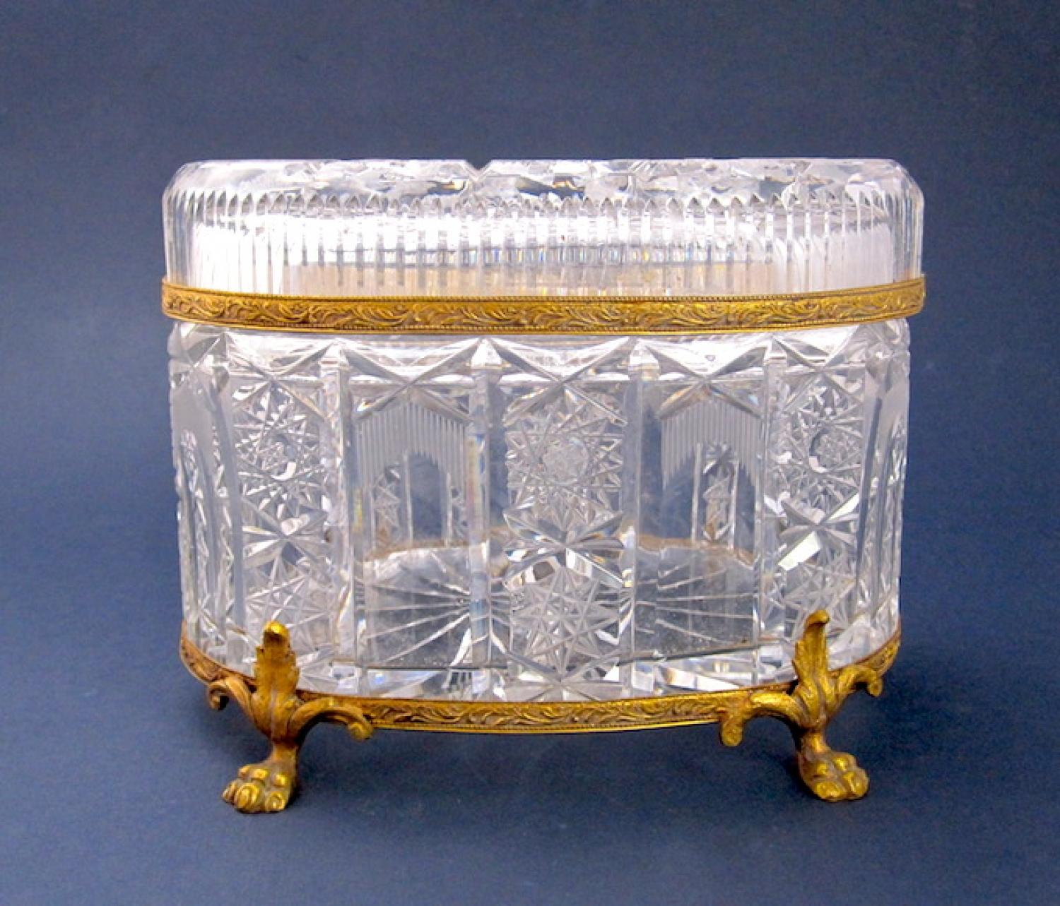 Antique French Cut Glass Casket Box