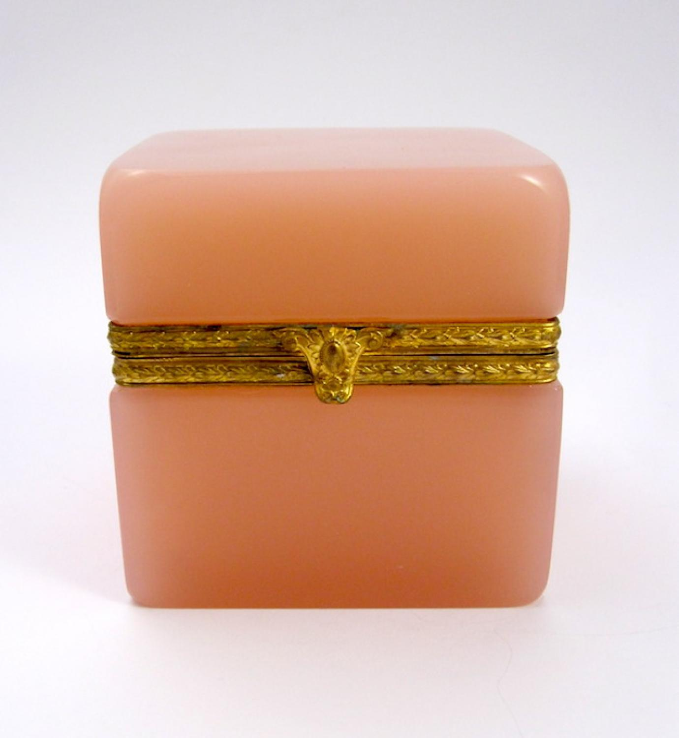 Antique French Pink Opaline Casket Box