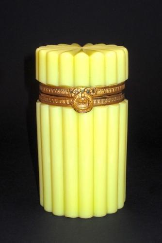 Rare Antique Yellow Opaline Casket Box