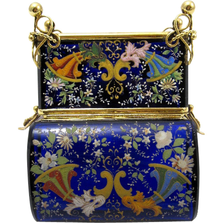 Antique MOSER Cobalt Blue Glass Casket Box