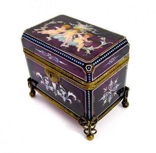 French Amethyst Glass Casket Box