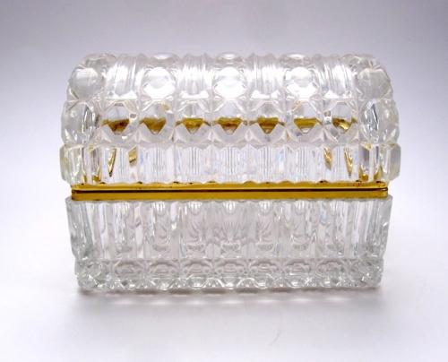 Large Antique French Crystal Casket Box