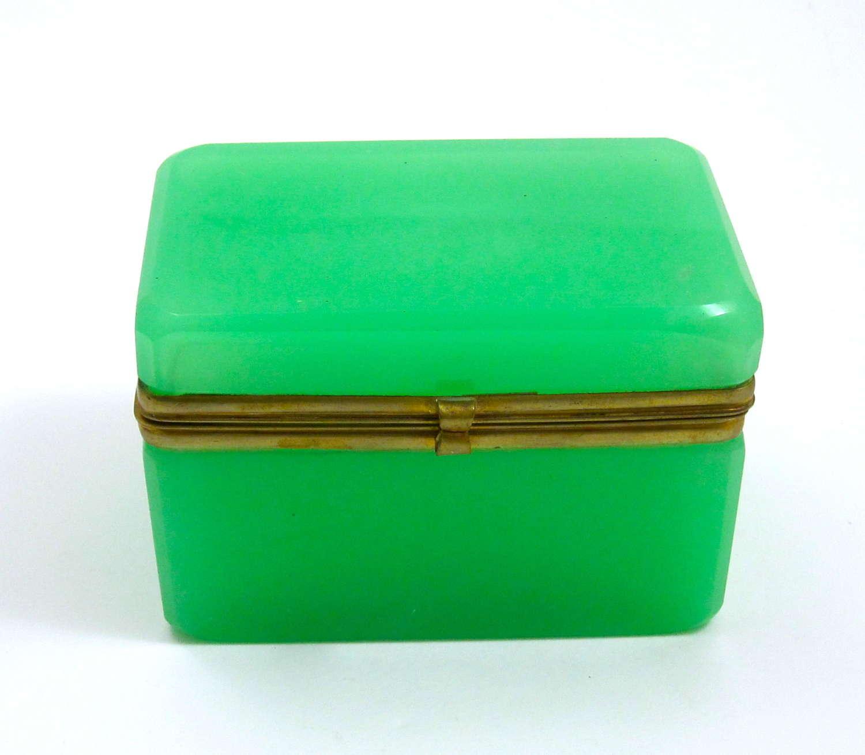 Antique French Green Opaline Glass Casket Box