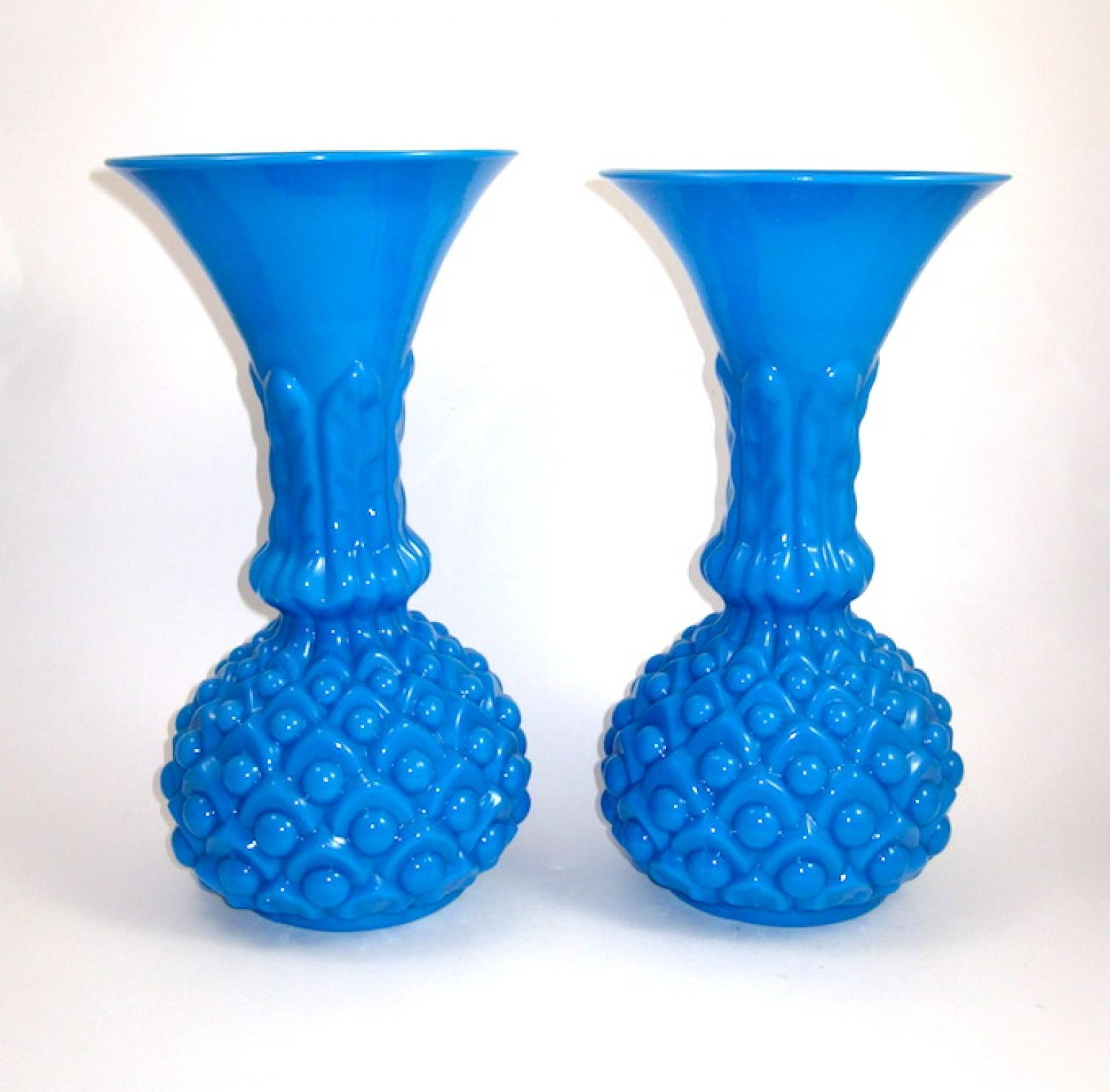 Pair of French Blue Opaline Glass Vases