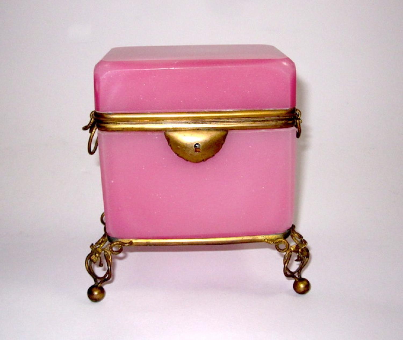 Wonderful Antique French Pink Opaline Casket