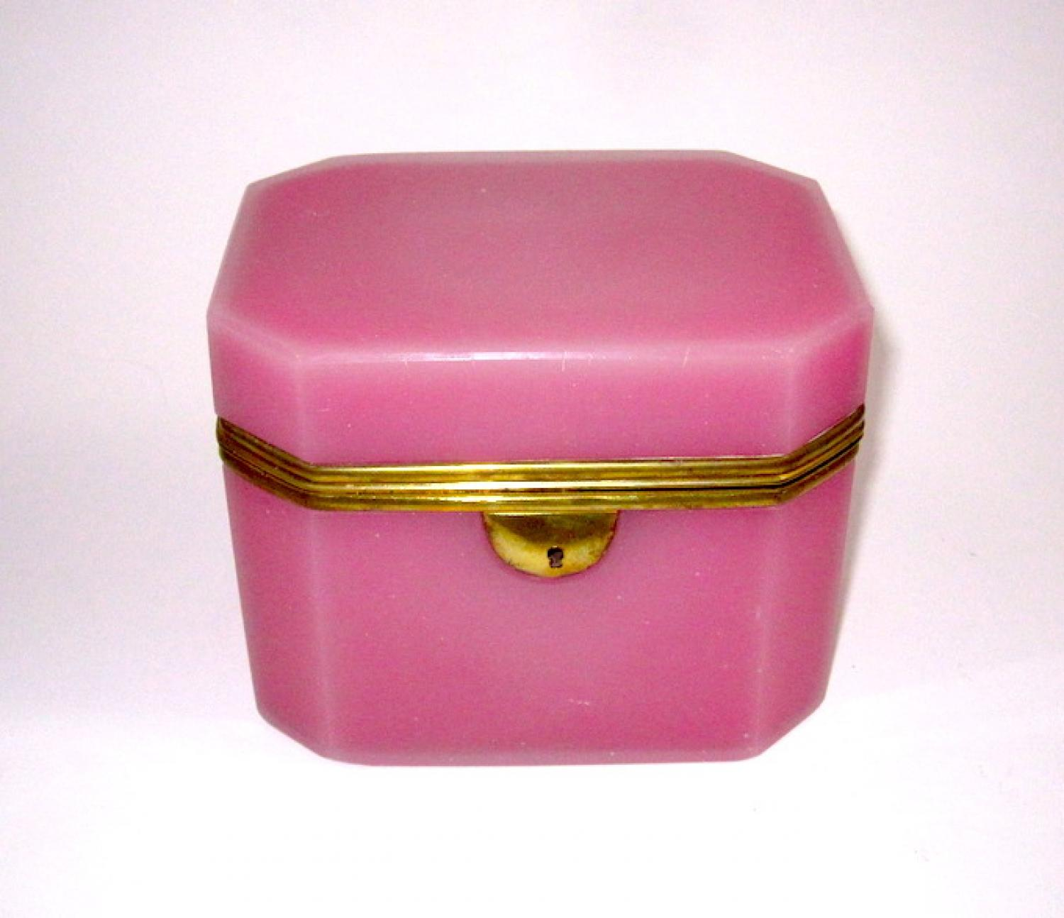 Antique French Pink Opaline Glass Casket Box