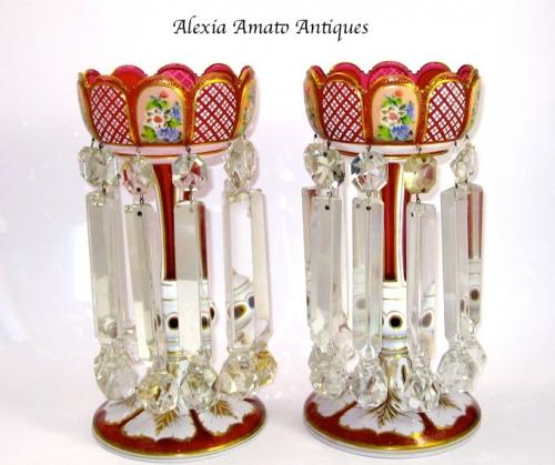 Pair of Antique Bohemian Red Glass Lustres