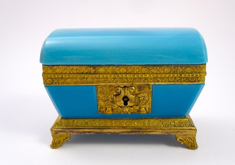 Charles X French Opaline Glass Casket Box