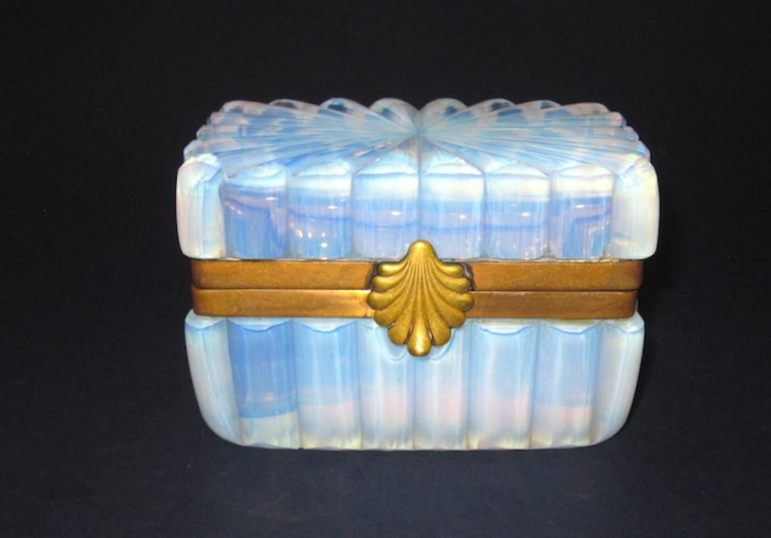 Antique Bulle de Savon Opaline Glass Casket