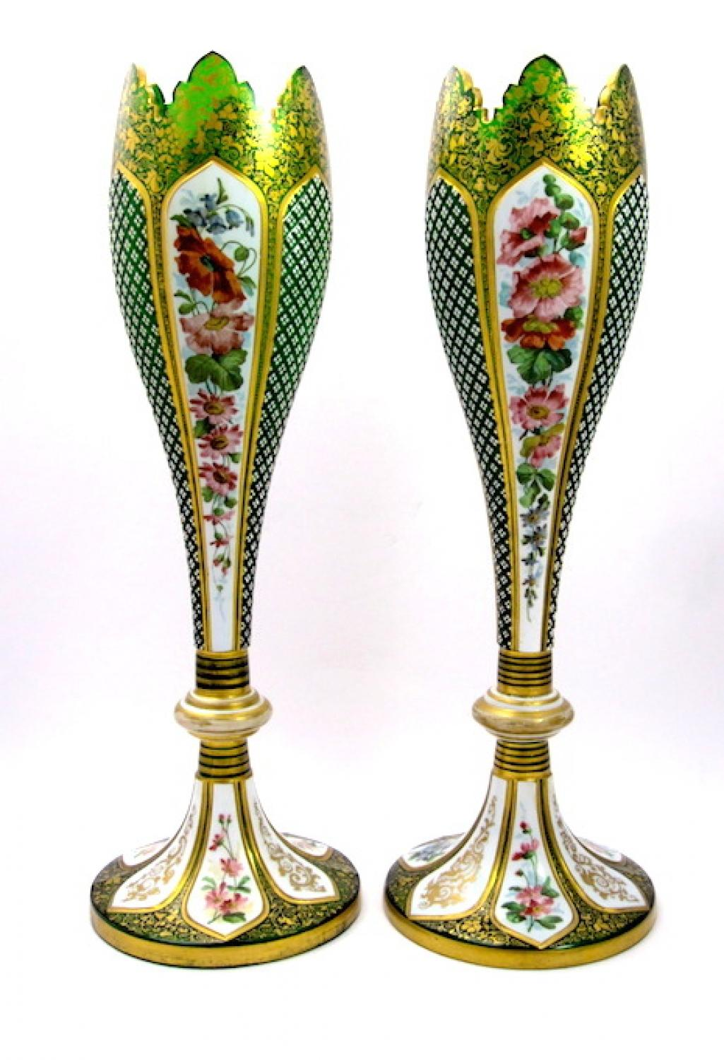 Tall Pair of Bohemian Overlay Glass Vases