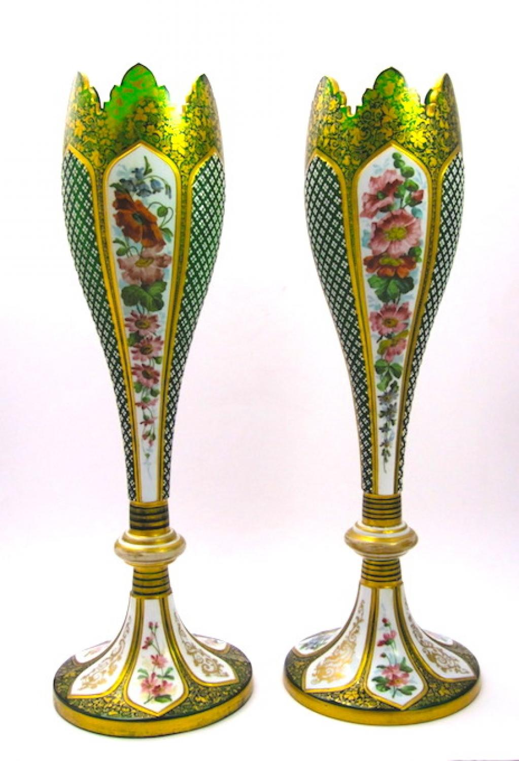 Tall Pair Of Bohemian Overlay Glass Vases In Sold Bohemian Glass