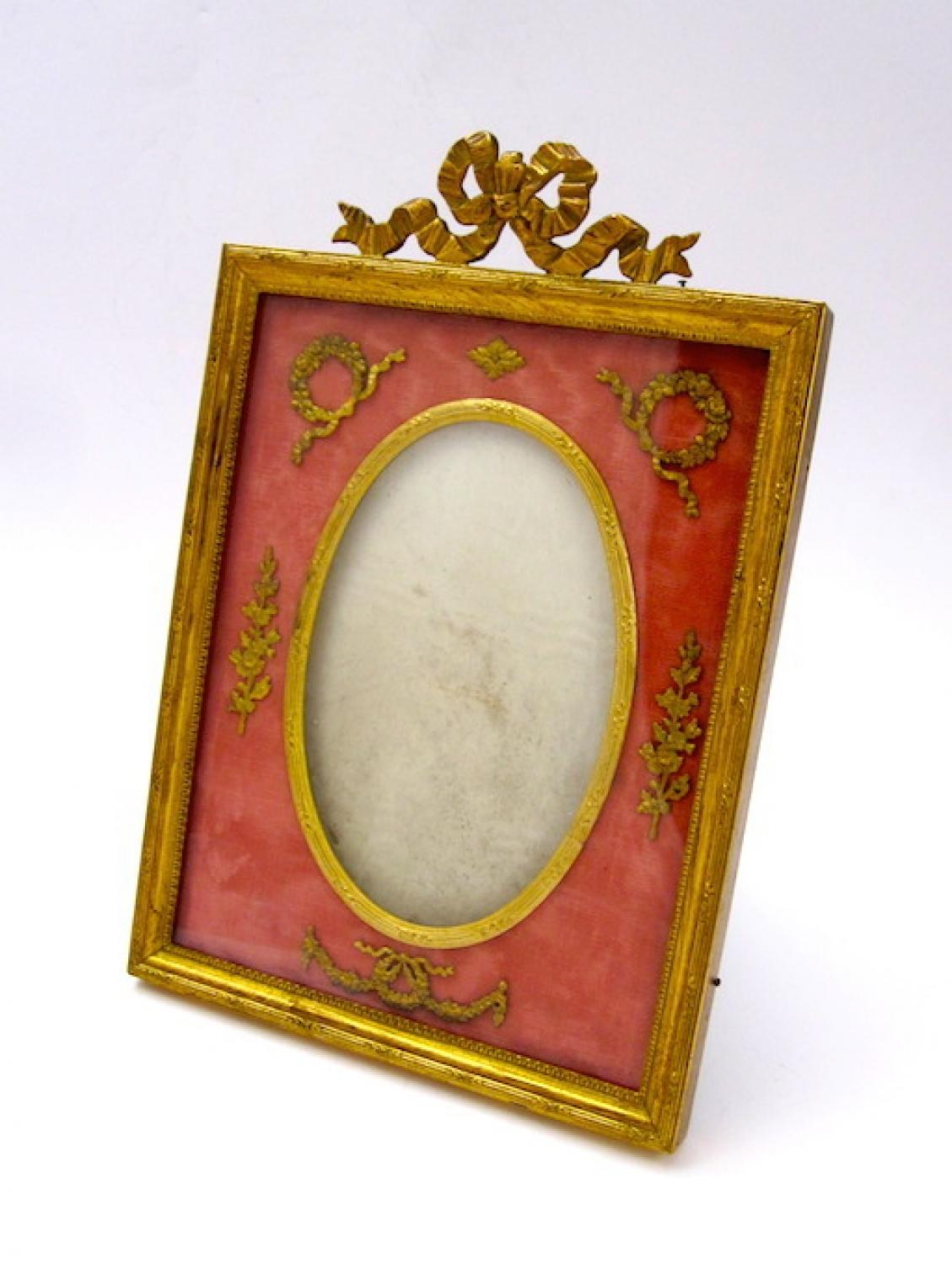 Antique Nap III French Silk & Bronze Frame