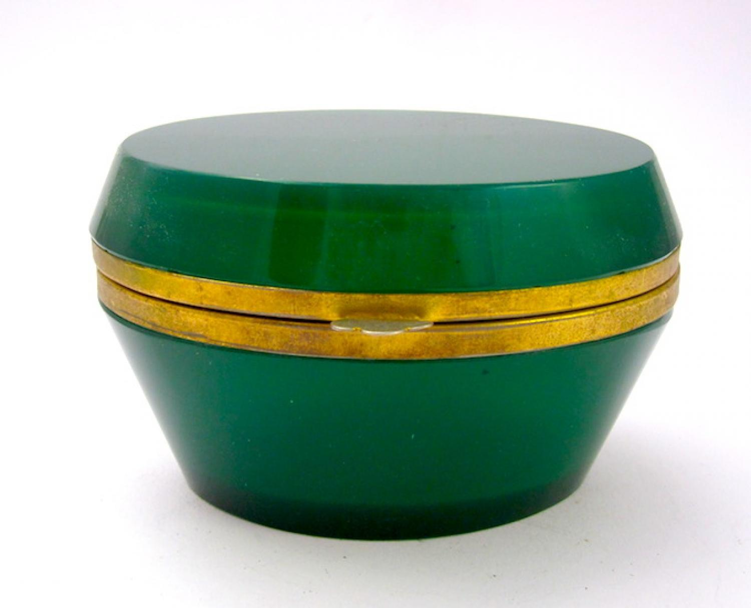 Antique French Oval Green Glass Casket Box