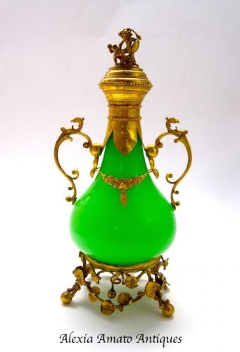 Tall Antique French Opaline Glass Perfume