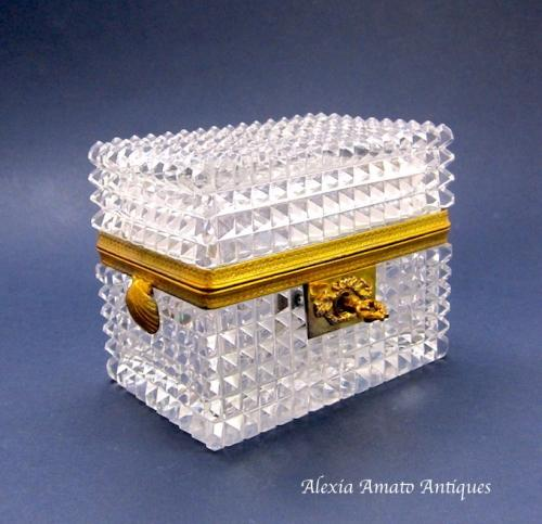Antique Baccarat Cut Glass Casket Box and Key