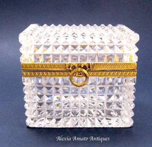 Antique Baccarat Cut Glass Casket Box