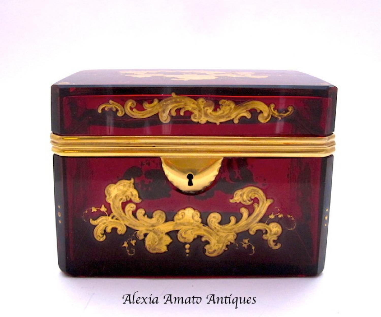 Antique Bohemian Red Enamelled Glass Casket