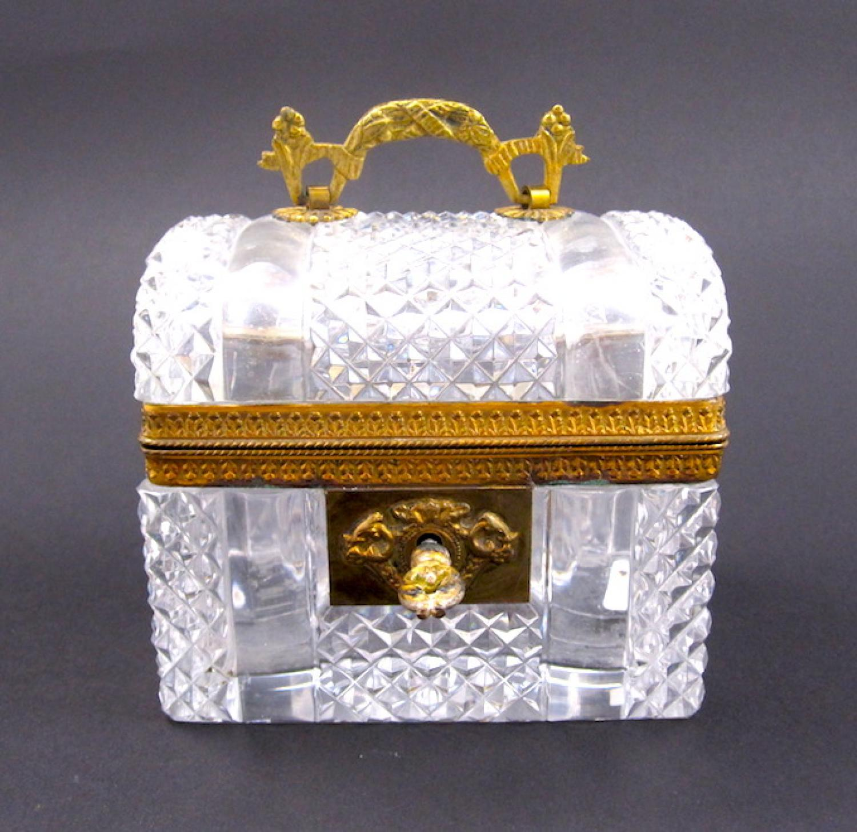 Antique Baccarat Cut Glass Casket Box