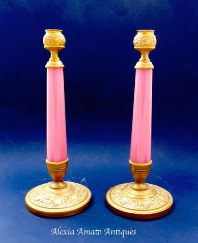 Antique Pair of Pink Opaline Candlesticks